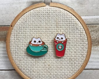 Cat Needle Minder - Coffee Kitty Needle Minder - Coffee Cat Magnet - Needle Nanny - Cross Stitch - Modern Embroidery Accessories