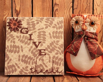 Give Thanks,Thanksgiving Decoration,Fall Decoration,Framed Wall Art,Christmas Decorations,Rustic,Christmas Sign,Christmas Gift,Holiday Decor
