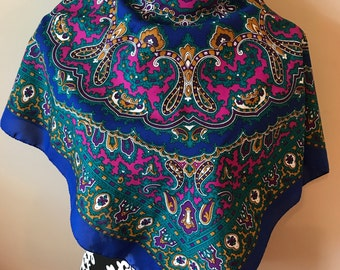Large Paisley and Scroll Print Scarf - Made In Italy - Green Fuscia Purple Blue Gold White
