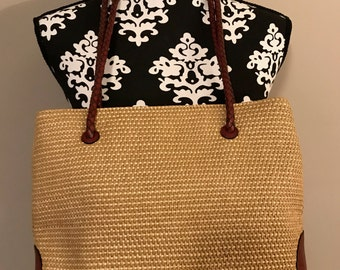 Etienne Aigner Woven Straw With Leather Trim Purse Shoulder Bag - Double Straps