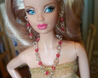 Barbie Jewelry. ModelMuse Fashionista MadeToMove Indian Pink SwarovskiCrystals Silver Plated Long Necklace&Earrings Set. Pretty In Pink OOAK