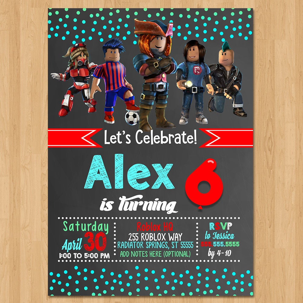 Roblox Invite - Chalkboard Teal & Red - Roblox Birthday Party Invite - Roblox Party Favors - Chalkboard Invite - Roblox Birthday Invitation