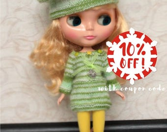 Outfit for Blythe doll: knitted dress 3/4 sleeve and beret