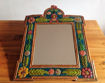Large mirror inside engraved and painted by hand - vintage
