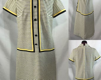 1960's | R&K Knits | white/black/yellow knit dress