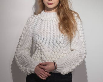 White knit sweater bohemian jumper women knitted cable pullover bulky chunky sweater winter wedding clothing cozy Christmas gift for friend
