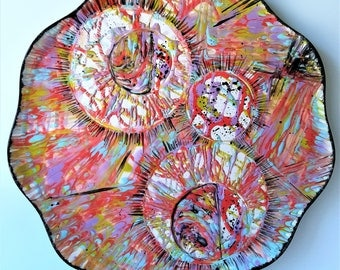 "Asteroids - 12"" Round Original Abstract Ceramic Painting"