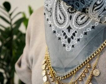 Grey Bandana with Gold Chain and Charms   Bandana Necklace   Hipster Jewelry   Bandana Choker   Boho Fashion   Western Style   Statement