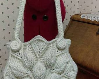 Embossed Garden crochet handbag, shoulder bag, crochet purse, tote