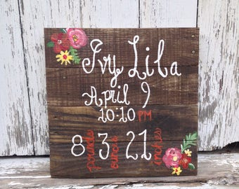 Birth Stats Reclaimed Wood Sign / Birth Announcement / Baby Gift / Nursery Decor / Hand Crafted / Hand Painted / Custom / Rustic Shabby Chic