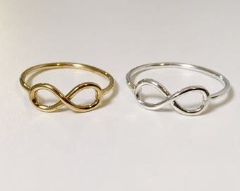 infinity ring sterling silver or 14k gold fill gift for her infinity wire