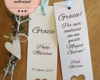 Placeholder wedding. Customizable bookmark wedding. Remember marriage with 3d heart.