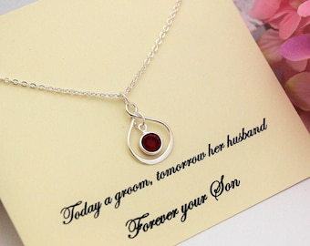 MOTHER OF GROOM Gift From Groom Gift to Mom from Son Silver Infinity Necklace Gift For Mother from Son Personalize Birthstone Necklace