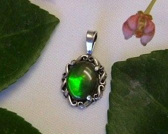 Petite Ammolite Pendant Sterling Silver Utah Statement Pendant Statement Jewelry Petite Green Yellow Red Fire 364 B