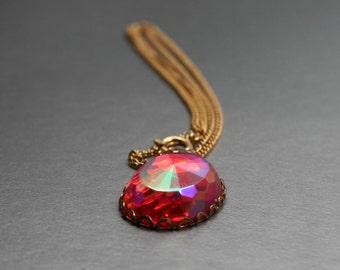 Pink Rhinestone Pendant, Champagne Pink Necklace, Dazzling Rose Rhinestone, Pretty in Pink, Round Fuchsia Jewelry, Sparkling Coral Pendant