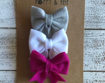 Felt Bow Set // Headband or Clip