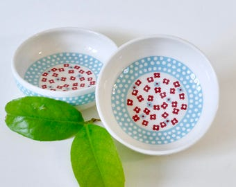 Cup ceramic - Ramekin with dots and flowers