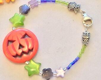 Jack O'Lantern Beaded Bracelet