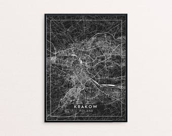 Krakow Black City Map Print, Clean Contemporary poster fit for Ikea frame 24x34 inch, gift art him her, Anniversary personalized travel