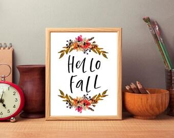 Hello fall digital print, hello fall printable, fall art print, fall digital art, fall typography, fall quote digital, fall theme download