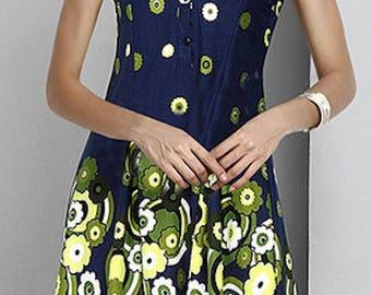 Navy Garden Sleeveless Notch Neck Button-Front Tunic