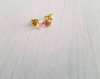 Teeny, tiny round vintage guilloche, gold plated post earrings.