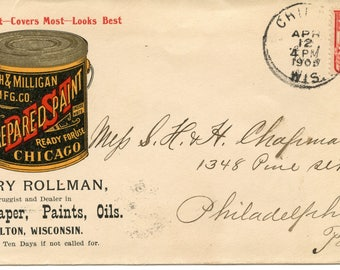 Advertising Cover Heath & Milligan Mfg. Co. , Postmark Chilton, Wis., 1905, 2 Cent Stamp Washington image, <>#PSY-1203