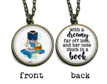 Her nose stuck in a book, Fairytale Necklace, Reader Jewelry, Book Lover Necklace Keychain
