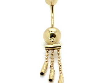 14K Yellow Gold Dangling Three Row Bead Chain Belly Ring