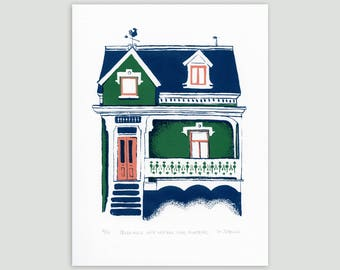 Montreal House in Green/Indigo – Limited Edition Screen Print