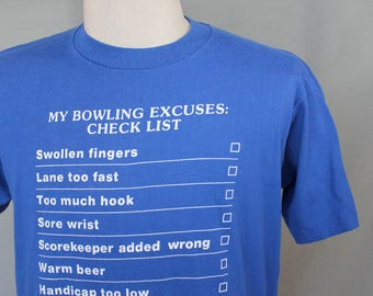 """Vintage 90s Single Stitch """"My Bowling Excuses"""" Checklist T-Shirt // Jerzees by Russell // Men's L Made in USA"""