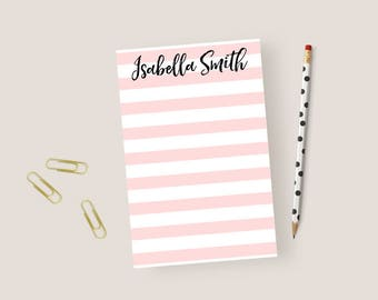 Striped Notepad Personalized Stationary Notepad Striped, Stationery Notepad, Stripes Notepad, Personalized Notepad Gifts, 5.5 x 8.5