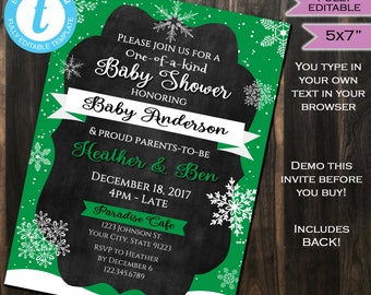 Winter Baby Shower Invitation Baby Sprinkle Snowflake One of a Kind Green Gender Neutral Invite Template Printable INSTANT Self EDITABLE 5x7