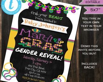 Mardis Gras Gender Reveal Invitation Baby Shower Invite Boy or Girl Bead Love Chalkboard Template Custom Printable INSTANT Self EDITABLE 5x7