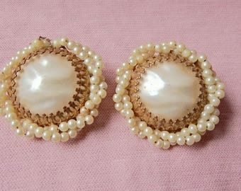 Large Earrings with Faux Pearl and Gold Tone Metal