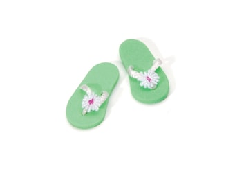 "Mini Green Flip Flops 1"" -  Miniature Fairy Garden Dollhouse"
