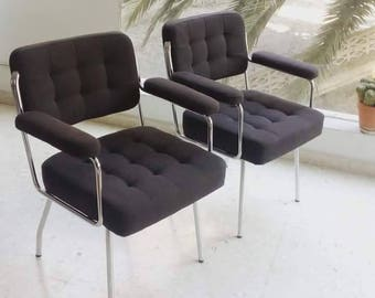 Reserved-couple of chairs vintage tubular steel