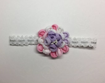 Flower unique baby headband. Kanzashi Flower