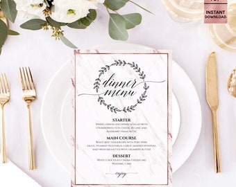 "Pink Marble Rose Gold Foil Wedding Menu Template, Printable Fashion Script Font Wedding Menu Template, 5""x7"", Editable PDF, Digital Download"