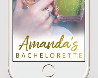 Bachelorette Party Snapchat Geofilter | Gold Script Snapchat Geofilter | Custom Snapchat Filter | Bride Tribe