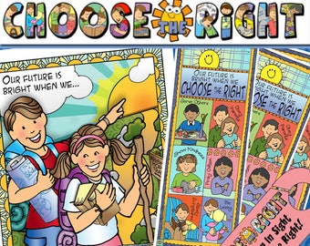 """2017 THEME """"Choose the Right"""" Primary Sharing Time: (1) Banner, (2) Poster/Cards/, (3) bookmarks, (4) doorknob sign - family home evening"""