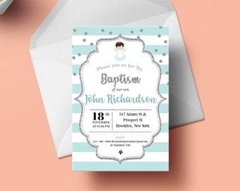 Printable Baptism Invitation, Boy Baptism Invitation, Christening Invitation, Girl Baptism Invitation
