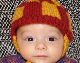Handmade baby CAP, earflaps, knitted newborn hat
