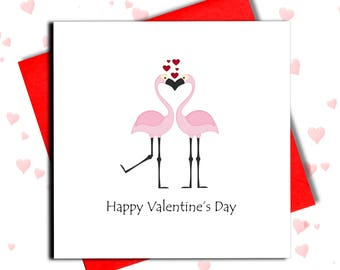 Flamingo Valentine Card, Valentine's Cards, For Him, For Her, Love Cards, Girlfriend Card, Boyfriend Card