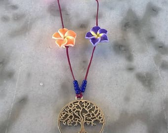Tree of life/flowers/beads neclace