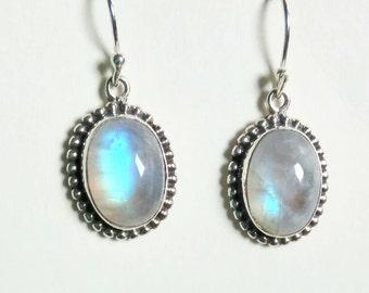 925 Handmade Blue Moonstone Earrings White Rainbow White Labradorite