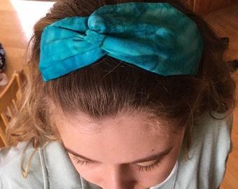 Adult blue batik headband//turban