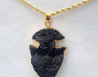 Arrow Head Faux Druzy Necklace