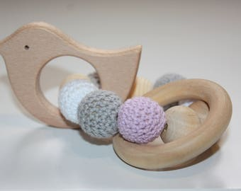 Beard teething ring / Sensory baby toy / Wooden elephant teether / infant toy / Chewable beads / Crochet teething
