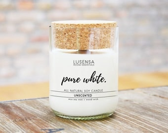PURE WHITE | Soy candle | unscented | all natural - eco soy wax + wood wick